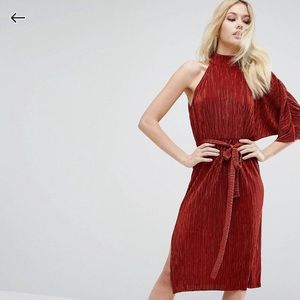 ASOS one sleeve dress, rust pleated